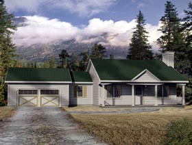 House Plan 49093 with 2 Beds, 1 Baths, 2 Car Garage Elevation