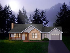House Plan 49095 with 2 Beds, 2 Baths, 1 Car Garage Elevation