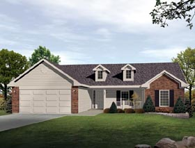 House Plan 49108 with 3 Beds, 3 Baths, 2 Car Garage Elevation
