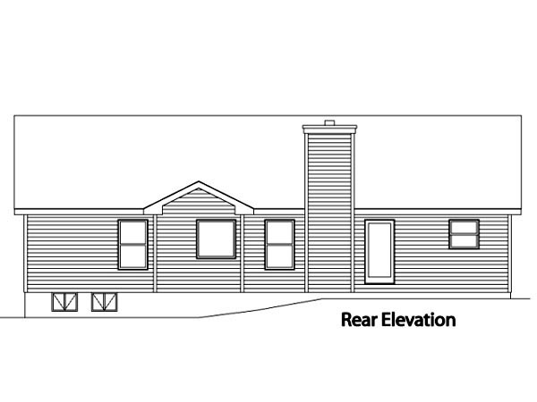 House Plan 49108 with 3 Beds, 3 Baths, 2 Car Garage Rear Elevation