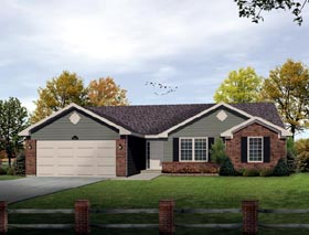 House Plan 49109 with 3 Beds, 2 Baths, 2 Car Garage Elevation
