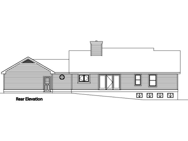 Ranch House Plan 49116 Rear Elevation