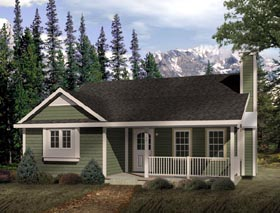 Country House Plan 49120 with 2 Beds, 1 Baths Elevation