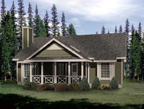 Country House Plan 49121 with 2 Beds, 1 Baths Elevation