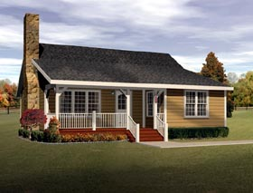 Country , Ranch House Plan 49122 with 2 Beds, 1 Baths Elevation