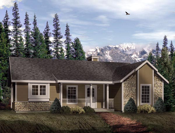 Craftsman House Plan 49125 with 2 Beds, 1 Baths Elevation