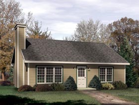 House Plan 49130 | Ranch Style House Plan with 1013 Sq Ft, 2 Bed, 1 Bath Elevation