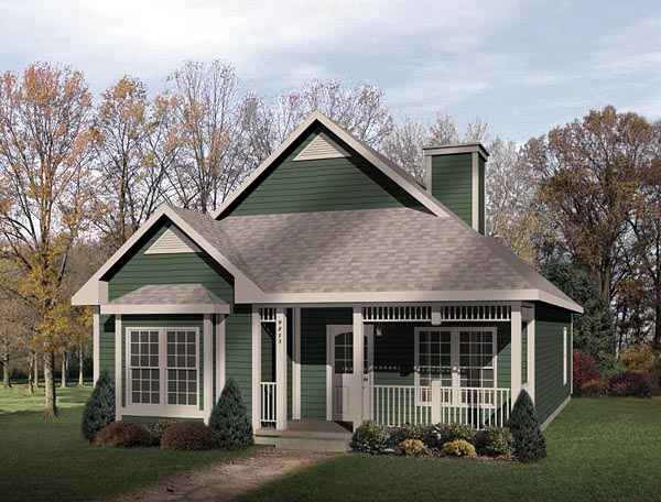 Narrow Lot House Plan 49131 with 2 Beds, 1 Baths Elevation