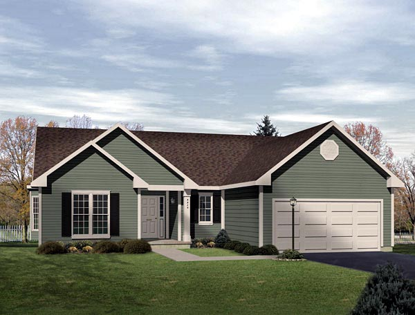 One-Story , Ranch House Plan 49134 with 3 Beds, 2 Baths, 2 Car Garage Elevation