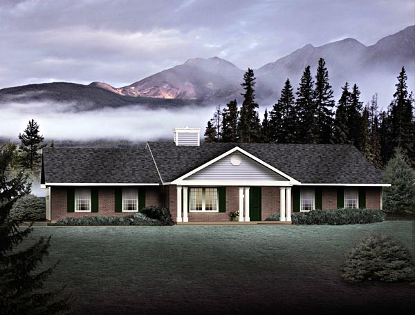 House Plan 49135 | Ranch Style House Plan with 1477 Sq Ft, 3 Bed, 2 Bath, 2 Car Garage Elevation