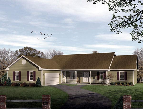 Ranch House Plan 49136 with 3 Beds , 3 Baths , 2 Car Garage Elevation