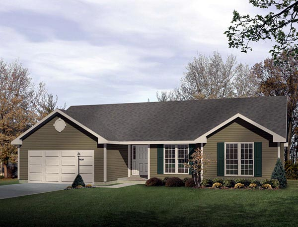 Ranch House Plan 49137 with 3 Beds, 2 Baths, 2 Car Garage Elevation
