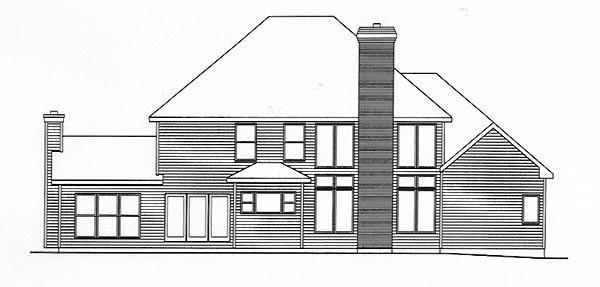 Traditional Rear Elevation of Plan 49142