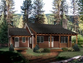 Country House Plan 49151 with 2 Beds, 1 Baths Elevation