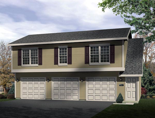 Narrow Lot, Traditional 3 Car Garage Apartment Plan 49153 with 2 Beds, 1 Baths Elevation