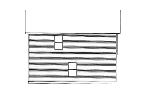 Narrow Lot , Rear Elevation of Plan 49154