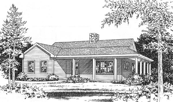 Country House Plan 49156 with 2 Beds, 1 Baths Elevation