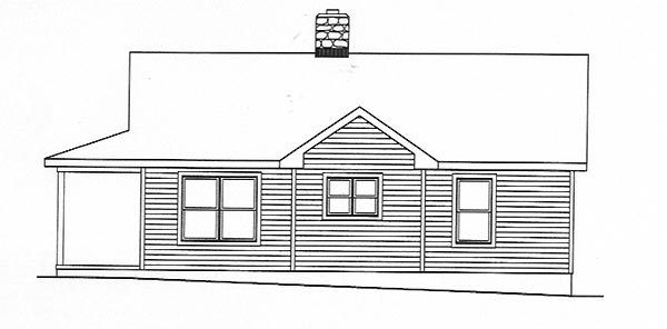 Country House Plan 49156 with 2 Beds, 1 Baths Rear Elevation