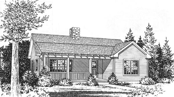 Narrow Lot, One-Story, Ranch House Plan 49157 with 2 Beds , 1 Baths Elevation