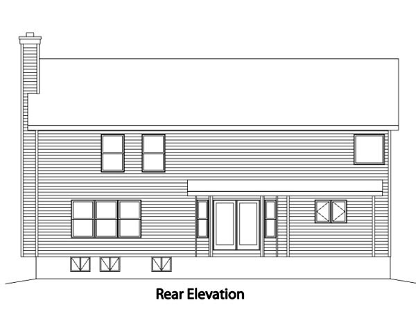 Country , Rear Elevation of Plan 49159