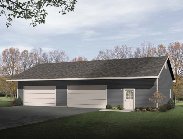 4 Car Garage Plan 49163 Elevation