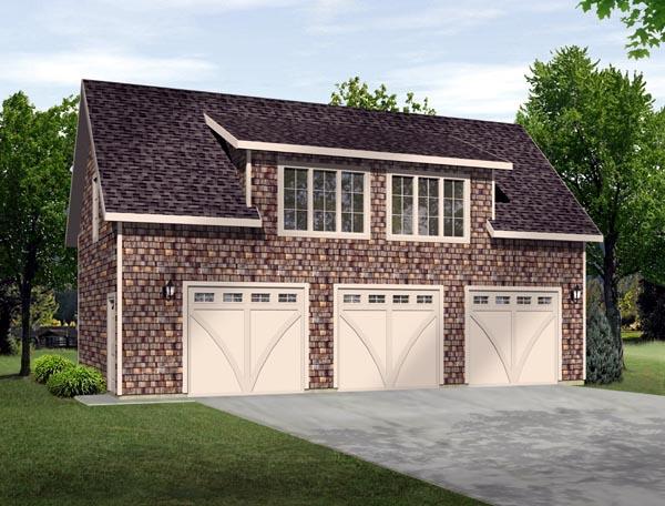 3 Car Garage Plan 49186 Elevation