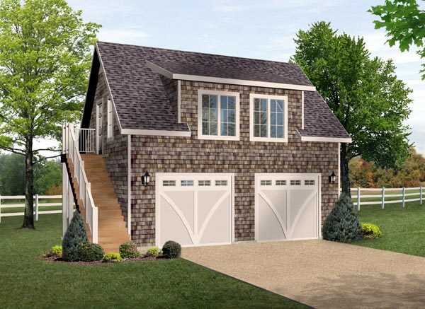 2 Car Garage Apartment Plan 49187 with 1 Beds, 1 Baths Front Elevation