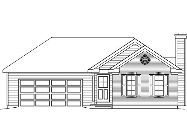 Ranch House Plan 49199 with 2 Beds, 2 Baths, 2 Car Garage Picture 3