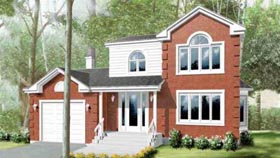 House Plan 49203 | Traditional Style Plan with 1993 Sq Ft, 3 Bedrooms, 2 Bathrooms, 1 Car Garage Elevation