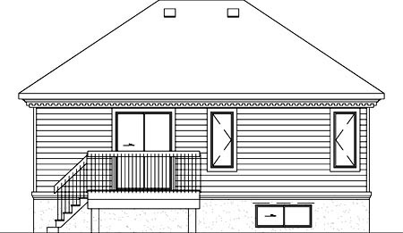 Craftsman House Plan 49204 with 1 Beds, 1 Baths Rear Elevation