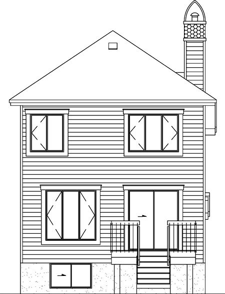 House Plan 49212 | Style Plan with 1316 Sq Ft, 2 Bedrooms, 2 Bathrooms, 1 Car Garage Rear Elevation