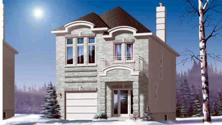Narrow Lot House Plan 49218 with 3 Beds, 2 Baths, 1 Car Garage Elevation