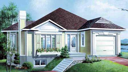 House Plan 49226 with 3 Beds, 2 Baths, 1 Car Garage Elevation