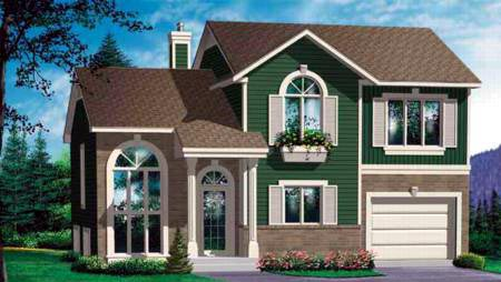 Craftsman, Narrow Lot House Plan 49236 with 4 Beds, 2 Baths, 1 Car Garage Elevation