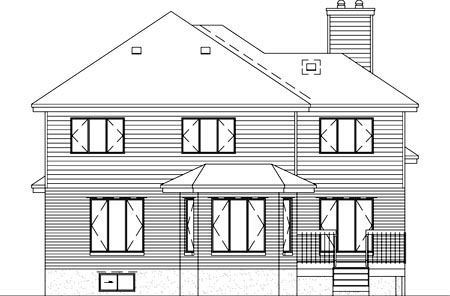 European House Plan 49244 Rear Elevation
