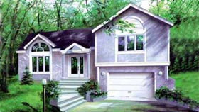 Colonial House Plan 49248 with 2 Beds, 2 Baths, 1 Car Garage Elevation