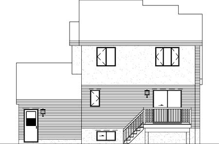 Contemporary Rear Elevation of Plan 49249