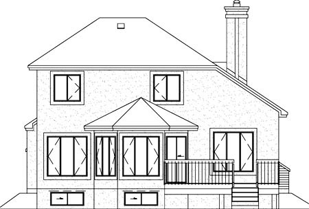 House Plan 49250 | European Style House Plan with 1937 Sq Ft, 3 Bed, 2 Bath, 1 Car Garage Rear Elevation