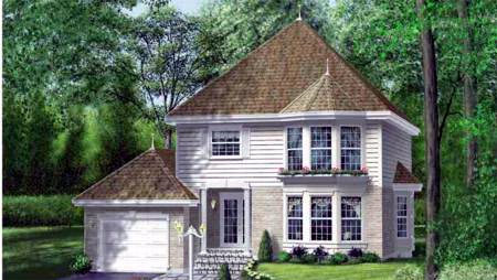 Victorian House Plan 49255 with 3 Beds, 3 Baths, 1 Car Garage Elevation