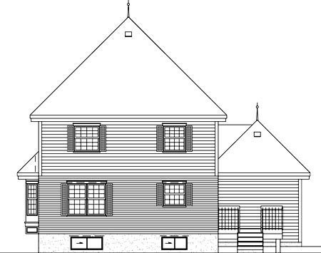 Victorian House Plan 49255 with 3 Beds, 3 Baths, 1 Car Garage Rear Elevation