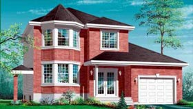 Colonial House Plan 49262 with 3 Beds, 2 Baths, 1 Car Garage Elevation