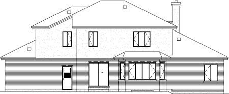 European House Plan 49267 Rear Elevation