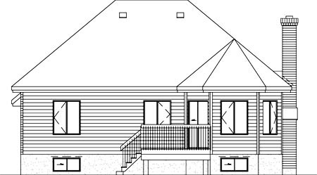 European House Plan 49268 Rear Elevation