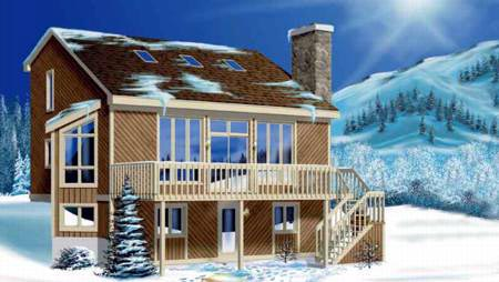 Contemporary, Narrow Lot House Plan 49270 with 4 Beds, 1 Baths Elevation