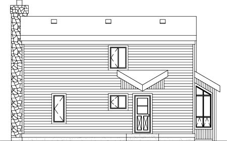 Contemporary, Narrow Lot House Plan 49270 with 4 Beds, 1 Baths Rear Elevation