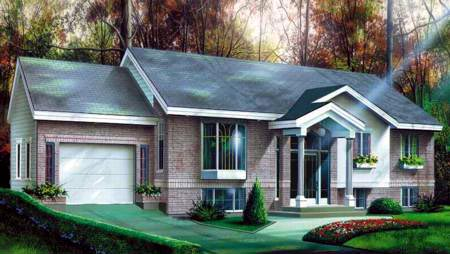 Colonial House Plan 49272 with 2 Beds, 1 Baths, 1 Car Garage Elevation