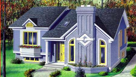 House Plan 49274 | Contemporary Style Plan with 1060 Sq Ft, 2 Bedrooms, 1 Bathrooms Elevation