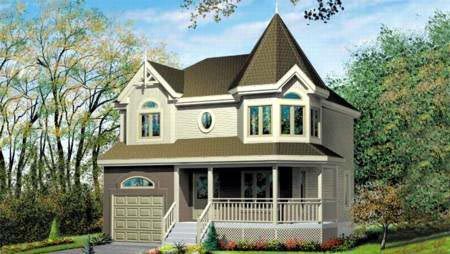 Narrow Lot, Victorian House Plan 49277 with 3 Beds, 2 Baths, 1 Car Garage Elevation