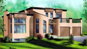 Contemporary House Plan 49281 with 3 Beds, 2 Baths, 2 Car Garage Elevation