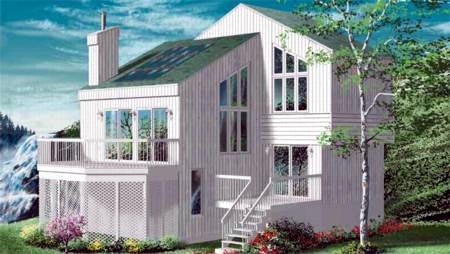 Narrow Lot House Plan 49296 with 4 Beds, 2 Baths Elevation